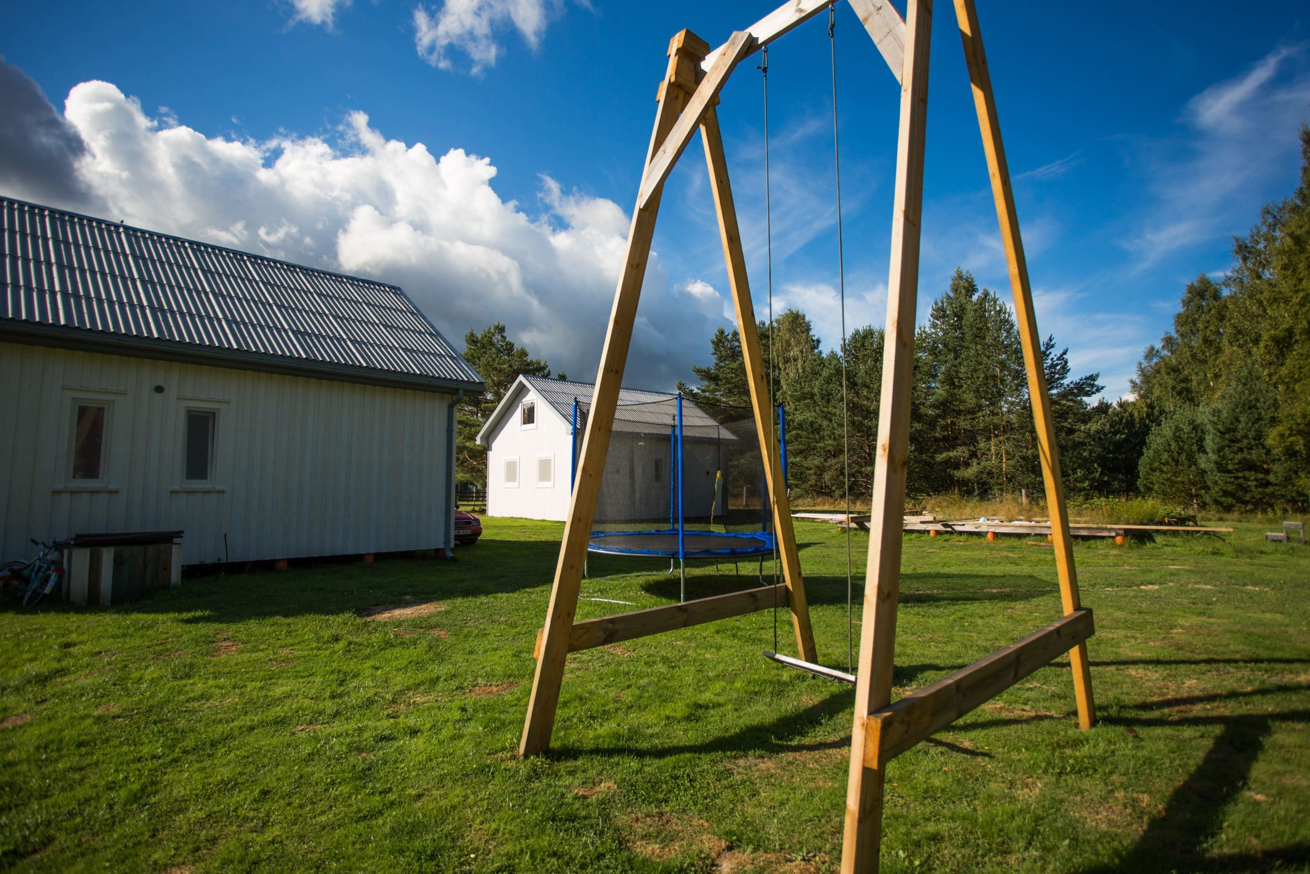 Holiday home playground swings